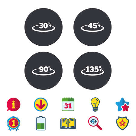 Angle 30-135 degrees icons. Geometry math signs symbols. Full complete rotation arrow. Calendar, Information and Download signs. Stars, Award and Book icons. Light bulb, Shield and Search. Vector Illusztráció