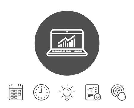 データ解析および統計線のアイコン。レポート グラフまたはグラフ符号。コンピューター データ処理の記号です。レポート、時計とカレンダーの線  イラスト・ベクター素材