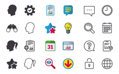 Head icons. Male and female human symbols. Woman with pigtail signs. Chat, Report and Calendar signs. Stars, Statistics and Download icons. Question, Clock and Globe. Vector Иллюстрация