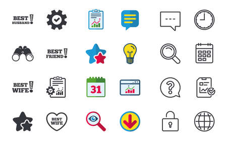 Best wife, husband and friend icons. Heart love signs. Awards with exclamation symbol. Chat, Report and Calendar signs. Stars, Statistics and Download icons. Question, Clock and Globe. Vector