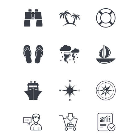 Cruise trip, ship and yacht icons. Travel, lifebuoy and palm trees signs. Binoculars, windrose and storm symbols. Customer service, Shopping cart and Report line signs. Online shopping and Statistics Illustration