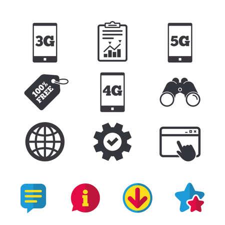 Icônes de télécommunications mobiles. Symboles de technologie 3G, 4G et 5G. Signe globe mondial. La fenêtre du navigateur, les panneaux de rapport et de service. Des jumelles, des icônes d'information et de téléchargement. Stars et Chat. Vecteur