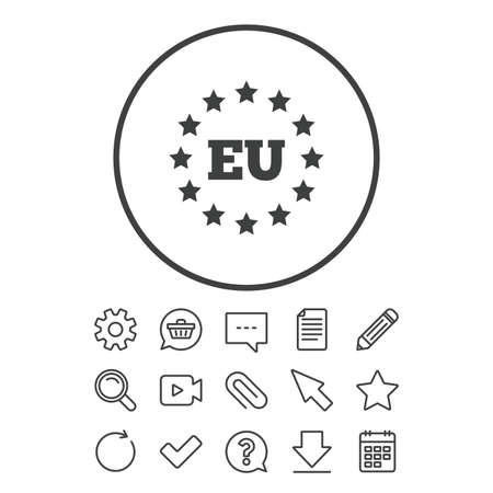 European union icon. EU stars symbol. Document, Chat and Paper clip line signs. Question, Pencil and Calendar line icons. Star, Download and Shopping cart. Vector