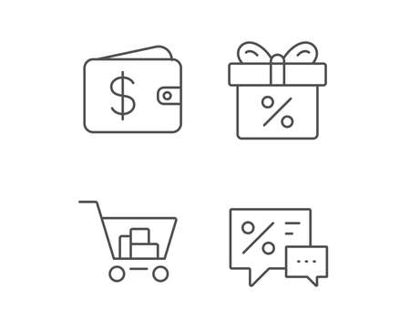 Gift box, Discount and Sale line icons. Shopping cart symbol. Online buying. Quality design elements. Editable stroke. Vector
