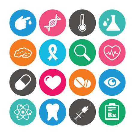 의료, 의학 및 진단 아이콘의 세트입니다. 치아, 환 약 및 주사기 징후. 두뇌, 혈액 테스트 및 온도계 기호입니다. 플랫 기호 색된 원형 단추입니다. 벡