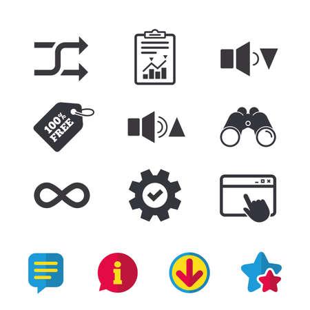 Pictogrammen voor spelerbesturing. Geluid luidere en stillere borden. Dynamisch symbool. Willekeurige shuffle en herhaalde lus. Browservenster, rapport en serviceborden. Verrekijker, informatie en download pictogrammen. Vector