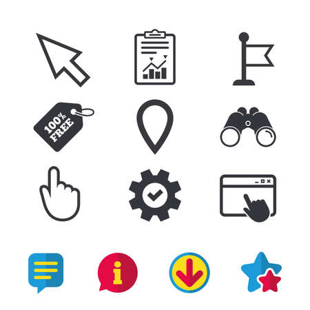 Mouse Cursor Icon Hand Or Flag Pointer Symbols Map Location
