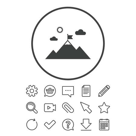 Flag on mountain icon. Leadership motivation sign. Mountaineering symbol. Document, Chat and Paper clip line signs. Question, Pencil and Calendar line icons. Star, Download and Shopping cart. Vector