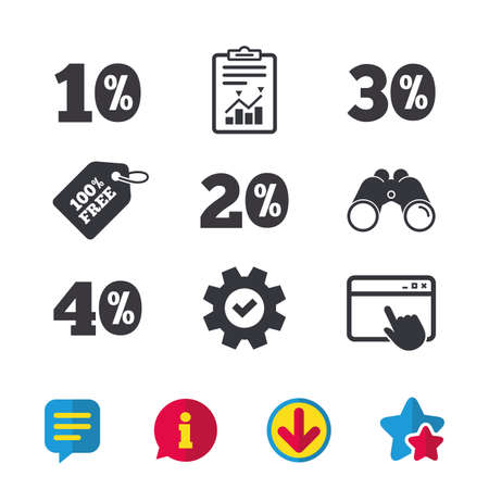 Sale discount icons. Special offer price signs. 10, 20, 30 and 40 percent off reduction symbols. Browser window, Report and Service signs. Binoculars, Information and Download icons. Stars and Chat Illustration