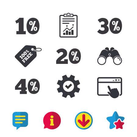 Verkoop kortingspictogrammen. Speciale aanbieding prijstekens. 10, 20, 30 en 40 procent kortingssymbolen. Browservenster, rapport en serviceborden. Verrekijker, informatie en download pictogrammen. Sterren en chatten Stock Illustratie