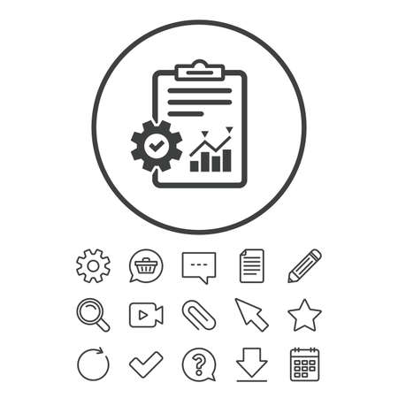 Project management icon. Report document with cogwheel symbol. File with charts symbol. Document, Chat and Paper clip line signs. Question, Pencil and Calendar line icons. Vector Çizim