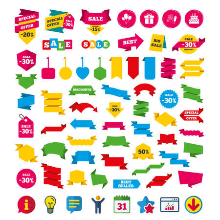 Birthday party icons. Cake and gift box signs. Air balloons and fireworks symbol. Shopping tags, banners and coupons signs. Calendar, Information and Download icons. Stars, Statistics and Chat. Vector