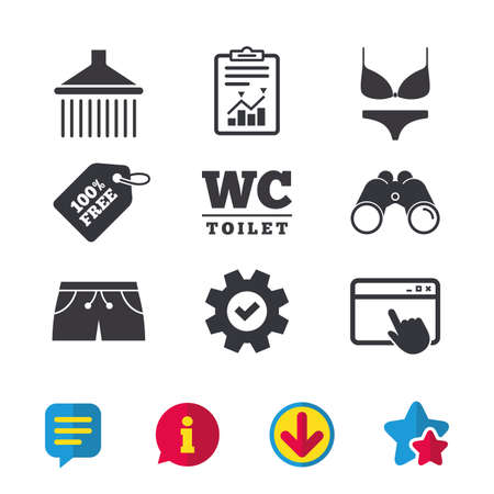 Zwembad pictogrammen. Douche waterdruppels en badmode symbolen. WC WC-teken. Trunks en damesondergoed. Browservenster, rapport en serviceborden. Verrekijker, informatie en download pictogrammen. Vector