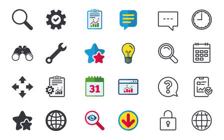Magnifier glass and globe search icons. Fullscreen arrows and wrench key repair sign symbols. Chat, Report and Calendar signs. Stars, Statistics and Download icons. Question, Clock and Globe. Vector