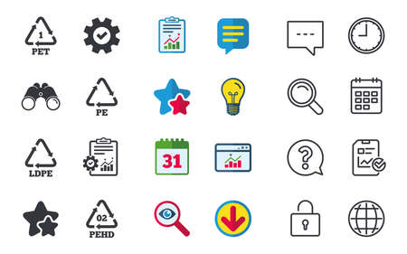 PET, Ld-pe and Hd-pe icons. High-density Polyethylene terephthalate sign. Recycling symbol. Chat, Report and Calendar signs. Stars, Statistics and Download icons. Question, Clock and Globe. Vector Çizim