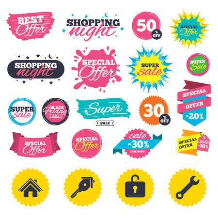 Sale shopping banners. Home key icon. Wrench service tool symbol. Locker sign. Main page web navigation. Web badges, splash and stickers. Best offer. Vector Çizim