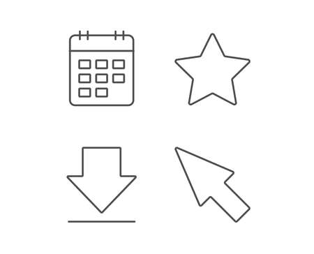 Download, Calendar and Cursor line icons. Favorite Star sign. Quality design elements. Editable stroke. Vector