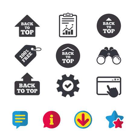 Terug naar boven pictogrammen. Omhoog scrollen met pijltekensymbolen. Browservenster, rapport en serviceborden. Verrekijker, informatie en download pictogrammen. Sterren en chatten. Vector