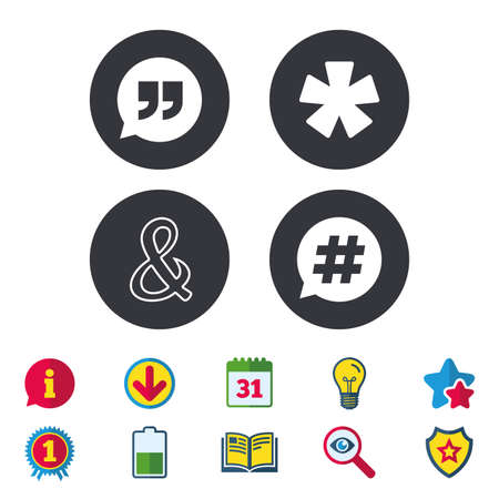 Quote, asterisk footnote icons. Hashtag social media and ampersand symbols. Programming logical operator AND sign. Speech bubble. Calendar, Information and Download signs. Stars, Award and Book icons Illustration