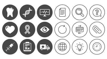 Medicine, healthcare and diagnosis icons. Tooth, syringe and ambulance signs. Dna, awareness ribbon symbols. Document, Globe and Clock line signs. Lamp, Magnifier and Paper clip icons. Vector