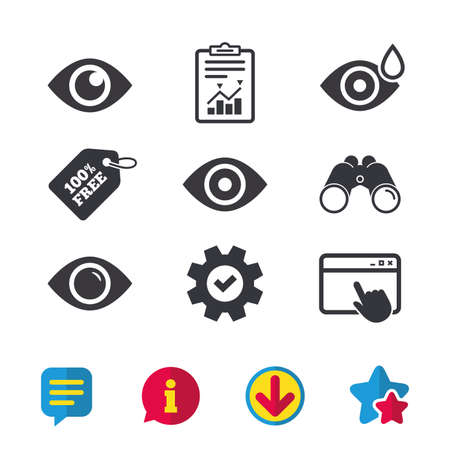 Eye icons. Water drops in the eye symbols. Red eye effect signs. Browser window, Report and Service signs. Binoculars, Information and Download icons. Stars and Chat. Vector 版權商用圖片 - 84809816