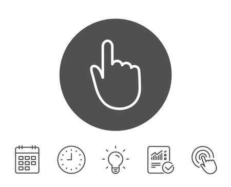 Hand Click line icon. Finger touch sign. Cursor pointer symbol. Report, Clock and Calendar line signs. Light bulb and Click icons. Editable stroke. Vector Illustration