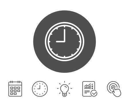 Clock line icon. Time sign. Office Watch or Timer symbol. Report, Clock and Calendar line signs. Light bulb and Click icons. Editable stroke. Vector Illustration