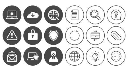 Internet privacy icons. Cyber crime signs. Virus, spam e-mail and anonymous user symbols. Document, Globe and Clock line signs. Lamp, Magnifier and Paper clip icons. Question, Credit card and Refresh Illustration