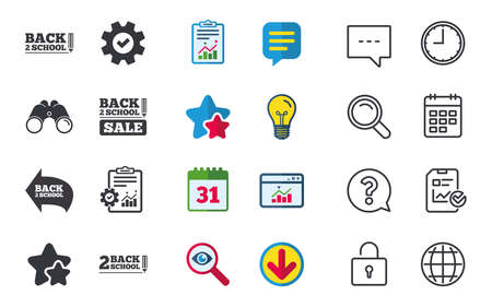 Back to school sale icons. Studies after the holidays signs. Pencil symbol.
