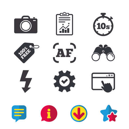 Photo camera icon. Flash light and autofocus AF symbols. Stopwatch timer 10 seconds sign. Browser window, Report and Service signs. Binoculars, Information and Download icons. Stars and Chat. Vector