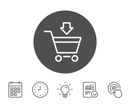 gift basket: Add to Shopping cart line icon. Online buying sign. Supermarket basket symbol. Report, Clock and Calendar line signs. Light bulb and Click icons. Editable stroke. Vector