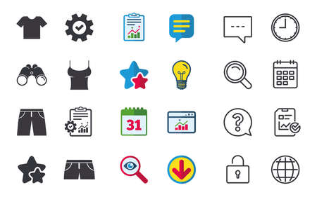 Clothes icons. T-shirt and pants with shorts signs. Swimming trunks symbol. Chat, Report and Calendar signs. Stars, Statistics and Download icons. Question, Clock and Globe. Vector