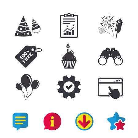 Birthday party icons. Cake, balloon, hat and muffin signs. Fireworks with rocket symbol. Cupcake with candle. Browser window, Report and Service signs. Binoculars, Information and Download icons