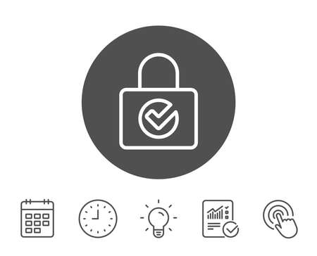 Lock with Check line icon. Private locker sign. Password encryption symbol. Report, Clock and Calendar line signs. Light bulb and Click icons. Editable stroke. Vector