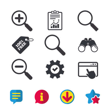 Magnifier glass icons. Plus and minus zoom tool symbols. Search information signs. Browser window, Report and Service signs. Binoculars, Information and Download icons. Stars and Chat. Vector 版權商用圖片 - 84876116