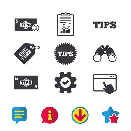 Tips pictogrammen. Contant met muntgeldsymbool. Sterrenbeeld. Browservenster, rapport en serviceborden. Verrekijker, informatie en download pictogrammen. Sterren en chatten. Vector Stock Illustratie