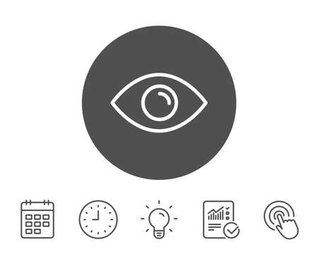 Eye line icon, Look or Optical Vision sign, View or Watch symbol, Report, Clock and Calendar line signs, Light bulb and Click icons, Editable stroke Vector Illustration.