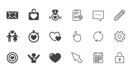 Liebe, Valentinstag Symbole. Ziel mit Herz-, Eidbrief- und Schließfachsymbolen. Paarliebhaber, Freund unterzeichnet. Chat-, Berichts- und Kalenderzeilen. Service-, Bleistift- und Schließfachikonen. Vektor Standard-Bild - 84931684