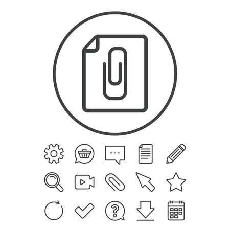 File annex icon. Paper clip symbol. Attach symbol. Document, Chat and Paper clip line signs. Question, Pencil and Calendar line icons. Star, Download and Shopping cart. Vector