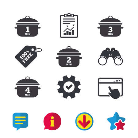 Cooking pan icons. Boil 1, 2, 3 and 4 minutes signs. Stew food symbol. Browser window, Report and Service signs. Binoculars, Information and Download icons. Stars and Chat. Vector Иллюстрация