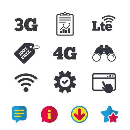 Icônes de télécommunications mobiles. Symboles technologiques 3G, 4G et LTE. Signes d'évolution Wi-fi sans fil et à long terme. Fenêtre du navigateur, signes de rapport et de service. Jumelles, icônes d'information et de téléchargement
