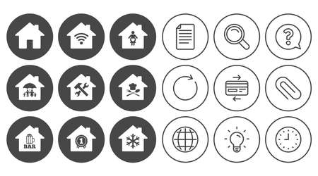 Real estate icons. Home insurance, maternity hospital and wifi internet signs. Restaurant, service and air conditioning symbols. Document, Globe and Clock line signs. Vector Ilustração