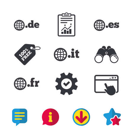 Top-level internet domain icons. De, It, Es and Fr symbols with globe. Unique national DNS names. Browser window, Report and Service signs. Binoculars, Information and Download icons. Stars and Chat Ilustração