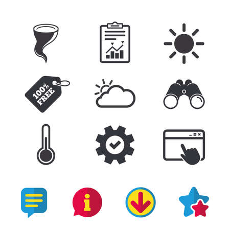 Weather icons. Cloud and sun signs. Storm symbol. Thermometer temperature sign. Browser window, Report and Service signs. Binoculars, Information and Download icons. Stars and Chat. Vector Illustration
