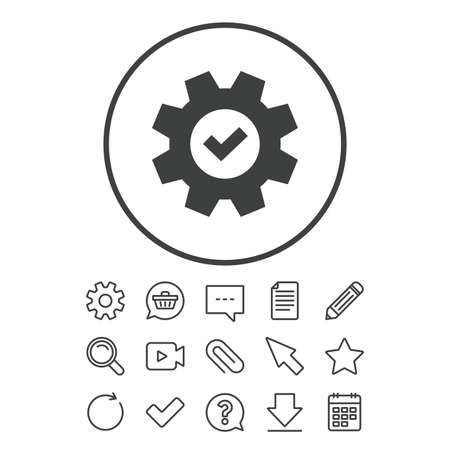 Service icon. Cogwheel with tick sign. Check symbol. Document, Chat and Paper clip line signs. Question, Pencil and Calendar line icons. Star, Download and Shopping cart. Vector