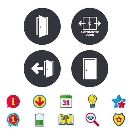 Automatic door icon. Emergency exit with arrow symbols. Fire exit signs. Calendar, Information and Download signs. Stars, Award and Book icons. Light bulb, Shield and Search. Vector