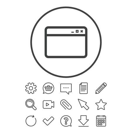 ブラウザー ウィンドウのアイコン。インター ネット ページの記号です。ウェブサイトの空のテンプレートのサイン。ドキュメント、チャットやペ