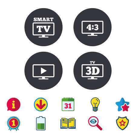 Smart TV mode icon. Aspect ratio 4:3 widescreen symbol. 3D Television sign. Calendar, Information and Download signs. Stars, Award and Book icons. Light bulb, Shield and Search. Vector Ilustrace