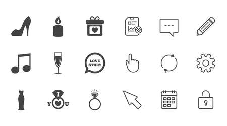 Wedding, engagement icons. Ring with diamond, gift box and music signs. Dress, shoes and champagne glass symbols. Chat, Report and Calendar line signs. Service, Pencil and Locker icons. Vector Illustration