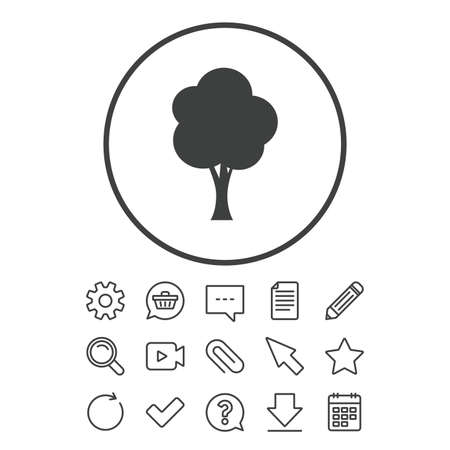 Tree sign icon. Forest symbol. Document, Chat and Paper clip line signs. Question, Pencil and Calendar line icons. Star, Download and Shopping cart. Vector